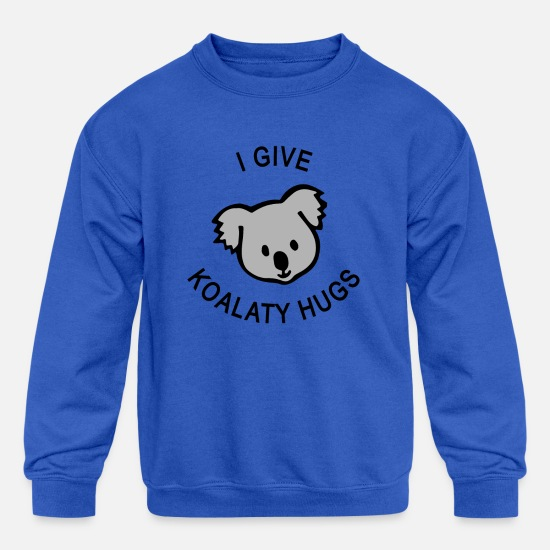 Kangaroo Hoodies & Sweatshirts - I Give Koality Hugs Koala - Kids' Crewneck Sweatshirt royal blue