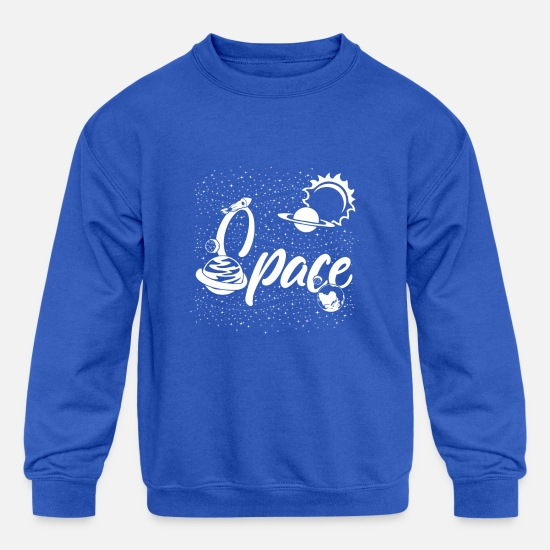 Space Hoodies & Sweatshirts - Universe Space Moon Rocket Weightless - Kids' Crewneck Sweatshirt royal blue