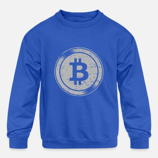 Gift Idea Hoodies & Sweatshirts - Bitcoin Logo - Funny Cryptocurrency Blockchain - Kids' Crewneck Sweatshirt royal blue