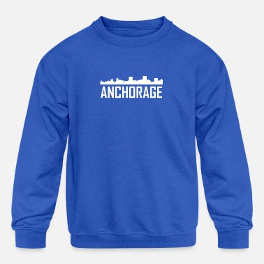 Alaska Anchorage Alaska City Skyline - Kids' Crewneck Sweatshirt