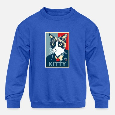 President Cat running for president (Obama Hope logo) - Kids' Crewneck Sweatshirt