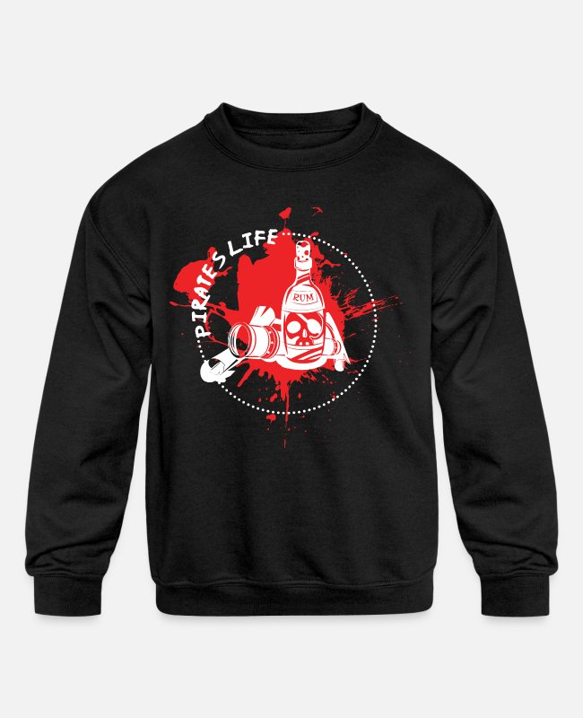 Wine Hoodies & Sweatshirts - Alcohol Pirate Gift - Kids' Crewneck Sweatshirt black
