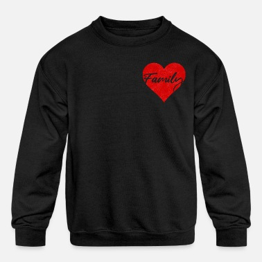 Family Design with red heart - Kids' Crewneck Sweatshirt