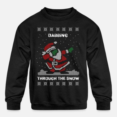 Dab Santa Dabbing Ugly Christmas Sweater - Kids' Crewneck Sweatshirt