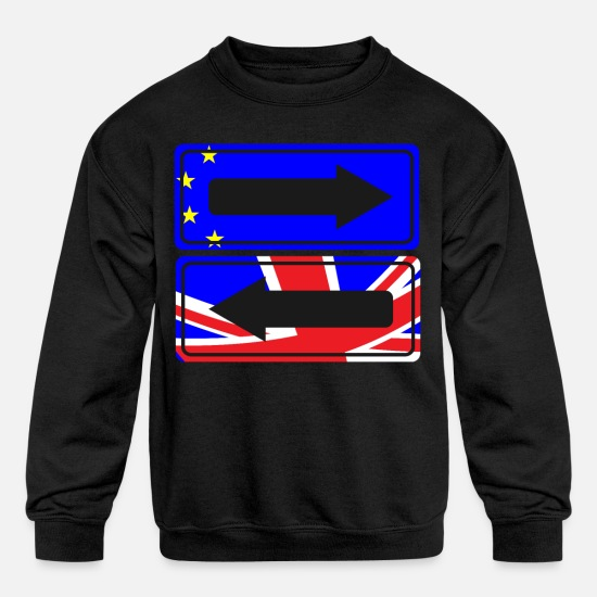 Brexit Hoodies & Sweatshirts - Street Sign EU UK t-shirt - Kids' Crewneck Sweatshirt black