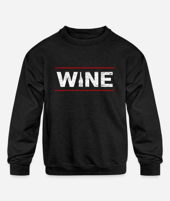 Wine Hoodies & Sweatshirts - Wine Festival Bar Drinking Wine Woman Malle - Kids' Crewneck Sweatshirt black