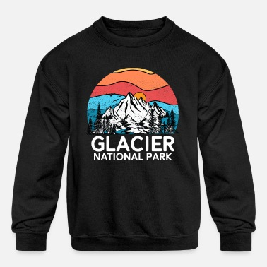 National Vintage Glacier National Park Retro 80s Montana - Kids' Crewneck Sweatshirt