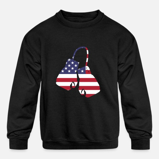 Flag Hoodies & Sweatshirts - US Boxing gloves with american flag for boxer - Kids' Crewneck Sweatshirt black