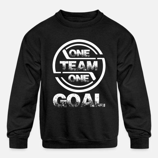 Hockey Hoodies & Sweatshirts - One Team One Goal - Kids' Crewneck Sweatshirt black