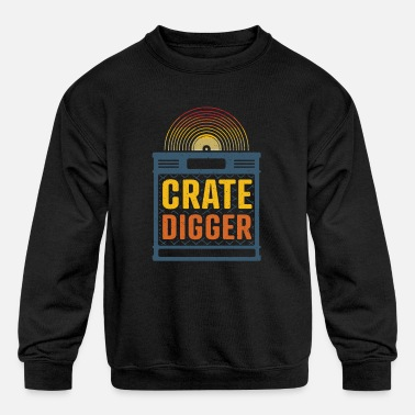 Crate digger - lp vinyl collector gift - Kids' Crewneck Sweatshirt