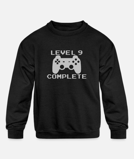 Children's Birthday Hoodies & Sweatshirts - Gamer Level 9 Gift Kids Birthday - Kids' Crewneck Sweatshirt black