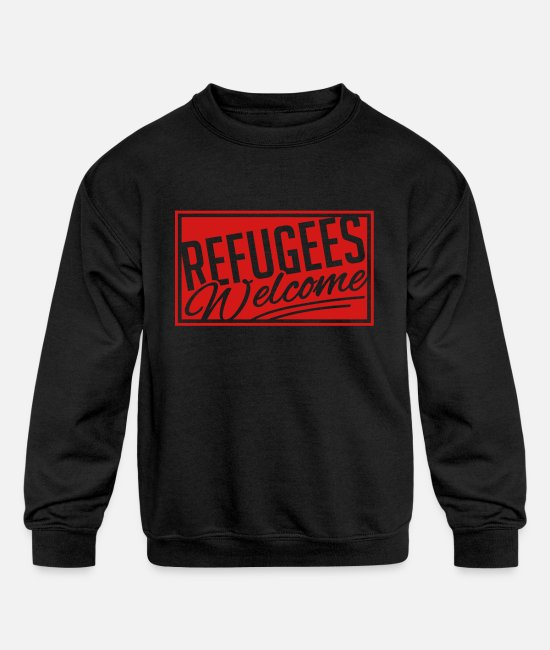 Help Hoodies & Sweatshirts - refugees_welcome_qi1 - Kids' Crewneck Sweatshirt black