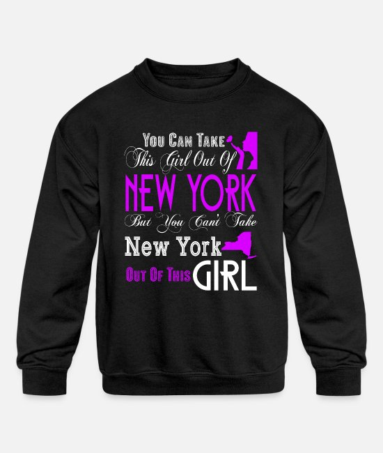 I Love New York Hoodies & Sweatshirts - New York T Shirt, New York Girl T Shirt - Kids' Crewneck Sweatshirt black