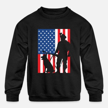 Army Army Soldier with Dog Weapon Gift T-Shirt - Kids' Crewneck Sweatshirt