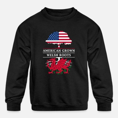 Roots American Grown with Welsh Roots Wales Design - Kids' Crewneck Sweatshirt
