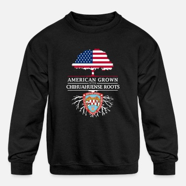 Mestizo American Grown with Chihuahuense Roots Mexico - Kids' Crewneck Sweatshirt