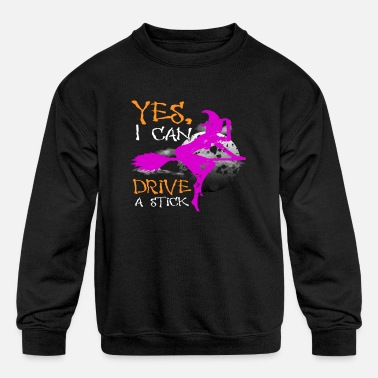 Broom I Can Drive A Stick Witch Halloween Costume Gift - Kids' Crewneck Sweatshirt