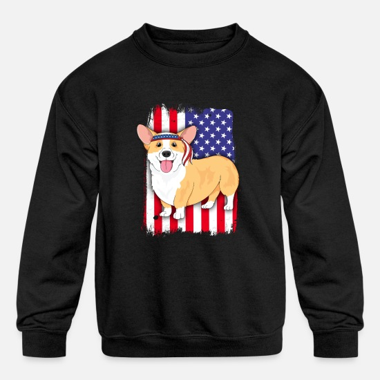 American Shirt Hoodies & Sweatshirts - American Flag Corgi 4th of July TShirt Women Kids - Kids' Crewneck Sweatshirt black