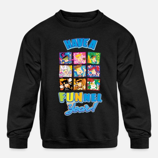 Youtube Hoodies & Sweatshirts - Have a FUNnel Year - Kids' Crewneck Sweatshirt black