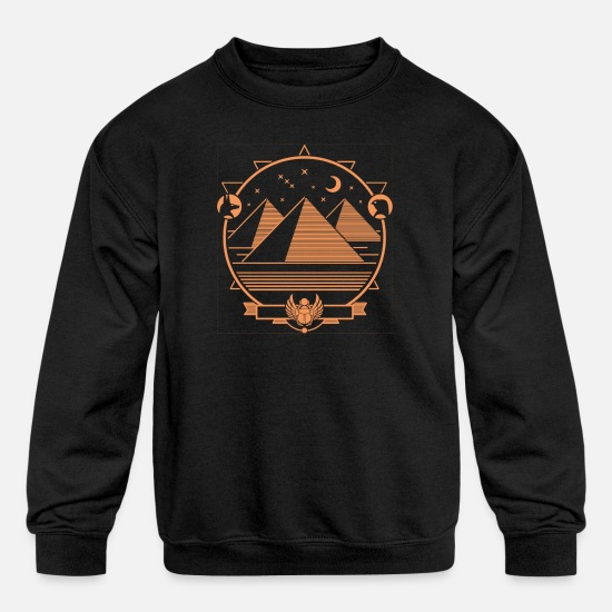 Egypt Hoodies & Sweatshirts - ancient pyramid - Kids' Crewneck Sweatshirt black