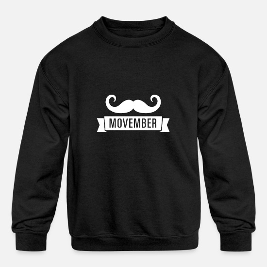 Movember Hoodies & Sweatshirts - Mustache in Movember - Kids' Crewneck Sweatshirt black