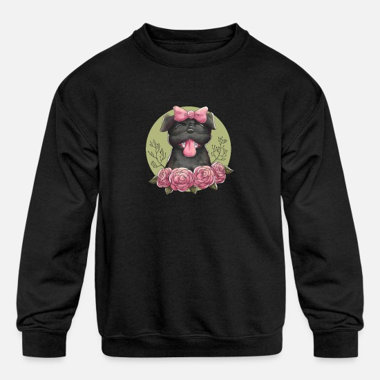 Style Of Music Hoodies & Sweatshirts - Female pug with hand drawn style - Kids' Crewneck Sweatshirt black