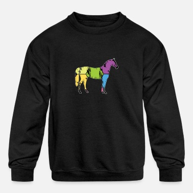 Pony Stall Horse Pony Stall Animal Horseshoe Saddle Gift - Kids' Crewneck Sweatshirt