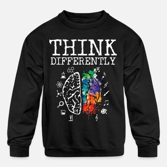 Neurodiversity Hoodies & Sweatshirts - Think Differently - Neurodiversity ASD ADHD Autism - Kids' Crewneck Sweatshirt black