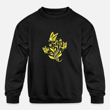 Yellow Yellow flower with butterfly - Kids' Crewneck Sweatshirt