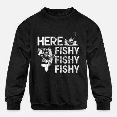 Fishing Rod Here Fishy Fishermen Fishes Fishing Rod Hook Fish - Kids' Crewneck Sweatshirt