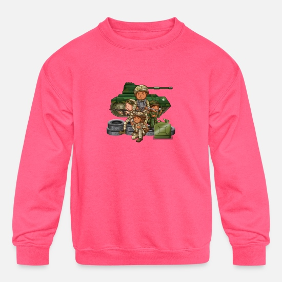 Army Hoodies & Sweatshirts - Army - Kids' Crewneck Sweatshirt neon pink