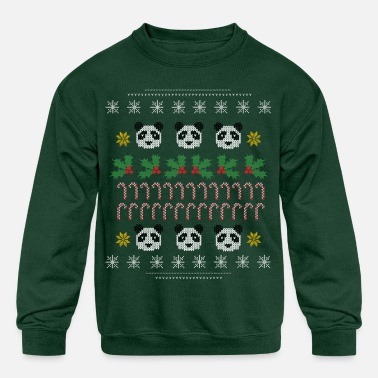 Panda Ugly Christmas Sweater - Kids' Crewneck Sweatshirt