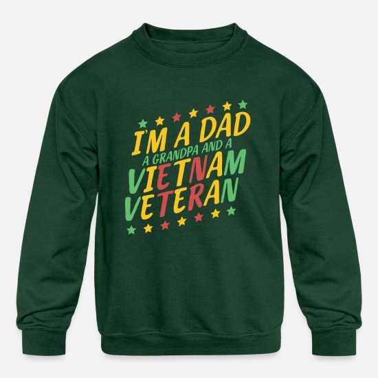 Vietnam Hoodies & Sweatshirts - vietnam veteran dad grandpa veterans day gift - Kids' Crewneck Sweatshirt forest green