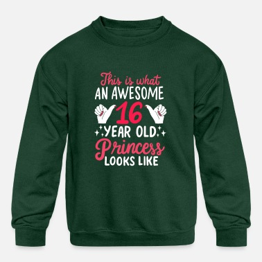Celebrate Awesome 16 Year Old Princess 16th Birthday Gift - Kids' Crewneck Sweatshirt