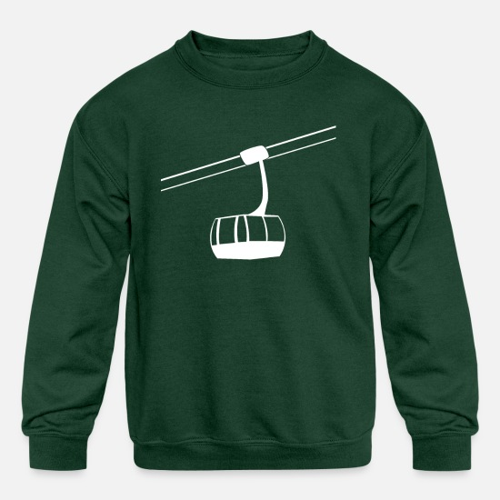 Lift Hoodies & Sweatshirts - Ski Cabin Lift Elevator Resort Winter Sport snow - Kids' Crewneck Sweatshirt forest green