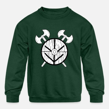 Shield Maid shield maid warrior odin thor barbar norsemen - Kids' Crewneck Sweatshirt