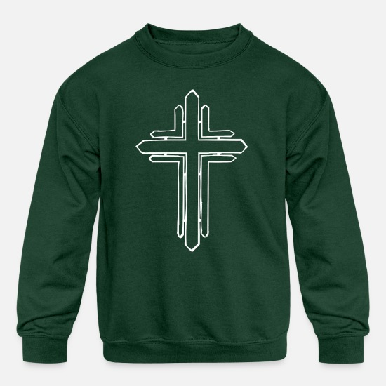 Religious Hoodies & Sweatshirts - Jesus, Christ, Cross, God, Church, Belief, Faith - Kids' Crewneck Sweatshirt forest green