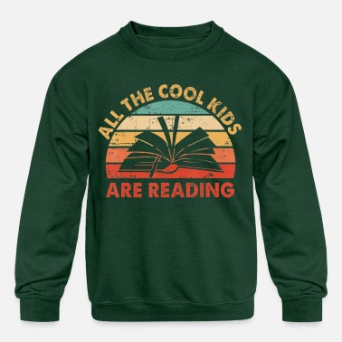 All the Cool Kids are Reading Retro Vintage Sunset - Kids' Crewneck Sweatshirt