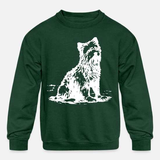 Hairy Hoodies & Sweatshirts - Hairy Dog - Kids' Crewneck Sweatshirt forest green
