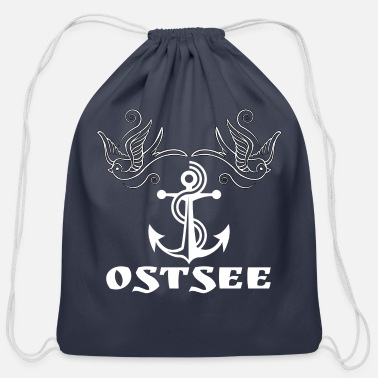 Baltic Sea baltic sea with anchor and birds,anchor,birds - Cotton Drawstring Bag