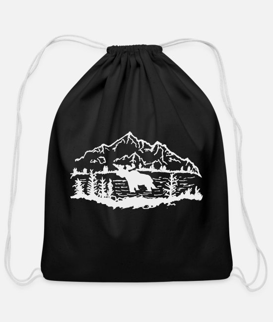 Tent Bags & Backpacks - Moose in a Lake - Cotton Drawstring Bag black