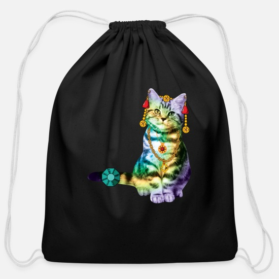 Funny Bags & Backpacks - Black Deco Cat Rainbow with lot of Jewelry - Cotton Drawstring Bag black