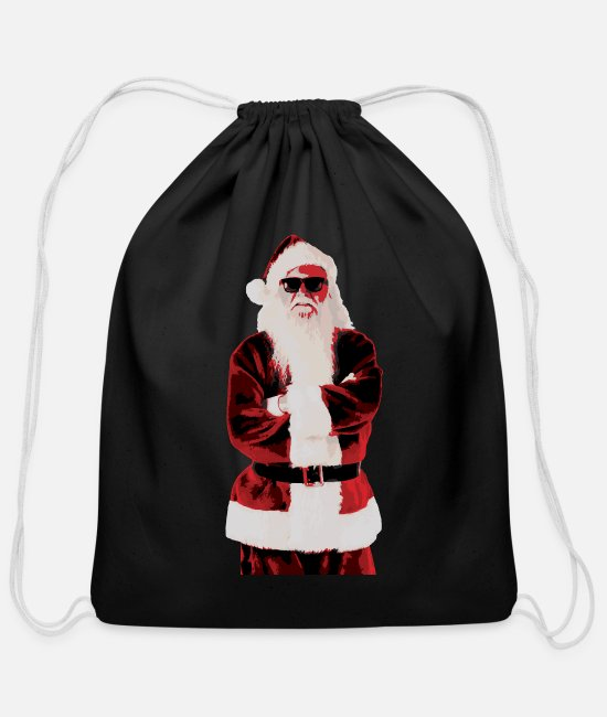 Claus Bags & Backpacks - Santa Claus gift shirt - Cotton Drawstring Bag black