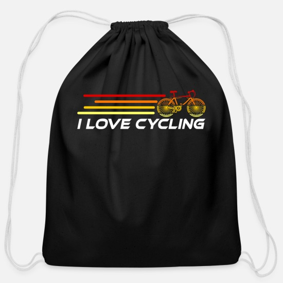 Gift Idea Bags & Backpacks - Cycling Retro Cyclist Cyclist Cyclist Cycling Cycl - Cotton Drawstring Bag black