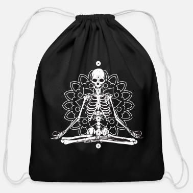 Meditation Chakra Skeleton Meditation Chakra Mandala - Cotton Drawstring Bag