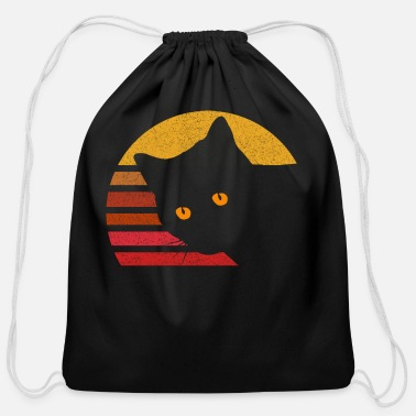 Eighties Vintage Eighties Style Cat Retro Distressed - Cotton Drawstring Bag