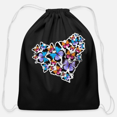 Wing Butterfly heart - Cotton Drawstring Bag