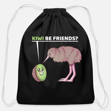 Kiwi Friend Kiwi Be Friends? Funny Kiwi Fruit New Zealand - Cotton Drawstring Bag
