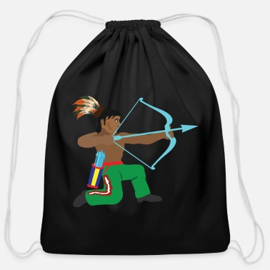 Wild Native American Native American Appache Indian cos - Cotton Drawstring Bag