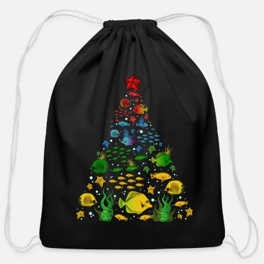 December Fish Lovers Sea Beach Aquatic Christmas Tree - Cotton Drawstring Bag